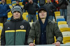 LVIV, UKRAINE - OCT 20: Fans celebrating a goal Shakhtar during Stock Photography