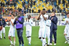 LVIV, UKRAINE - OCT 20: KAA Gent football players thank fans dur Royalty Free Stock Photos