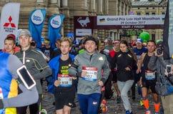 LVIV, UKRAINE - 29 OCTOBER 2017: Athletes runners start running grand prix Lviv half marathon. Athletes runners start running grand prix Lviv half marathon Royalty Free Stock Image