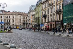 Cultural and historical center of Lviv. Street scene.