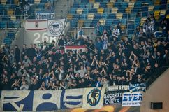 LVIV, UKRAINE - October 19, 2017: Fans of FC Hertha Berlin at th stock photo