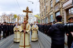 LVIV, UKRAINE - October 16, 2017: Holy Week passion and death of religious holiday of the sacred procession in Lviv. LVIV, UKRAINE - October 16, 2017 Holy Week royalty free stock image
