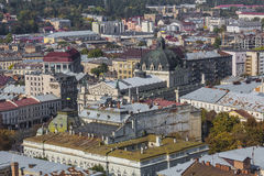 LVIV, UKRAINE - OCTOBER 02, 2016: Lviv City from above. Central. Part of the old city of Lvov. Ukraine Royalty Free Stock Image