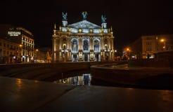 Lviv, Ukraine - October 18, 2015: Night view of the Lviv Theatre Stock Photography