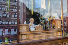 Lviv, Ukraine - October 18, 2015:  Showcase museum pharmacy business instead Stock Image