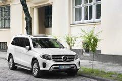 Lviv, Ukraine - October 25, 2018: White SUV Mercedes GL stock images