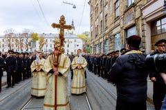 LVIV, UKRAINE - 16 octobre 2017 : Passion de semaine sainte et mort des vacances religieuses du cortège sacré à Lviv Image libre de droits