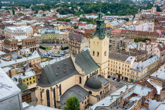 Lviv, Ukraine old city top view panorama with Latin Cathedral Stock Photo