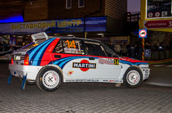 Lviv, Ukraine - Otober 2015: Racing rally car driving on the asphalt road on the night stage, which is controlled by the driver of. Lviv, Ukraine - Otober 2015 Stock Photo
