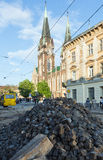 LVIV,UKRAINE:Renovation of Gorodotsjka Street Royalty Free Stock Images