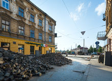 LVIV,UKRAINE:Renovation of Gorodotsjka Street Royalty Free Stock Photo
