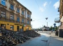 LVIV,UKRAINE:Renovation of Gorodotsjka Street Royalty Free Stock Photo