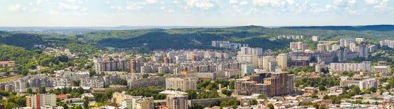 Lviv, Ukraine -September 3, 2017: Aerial view of Lviv city Pano Foto de archivo libre de regalías