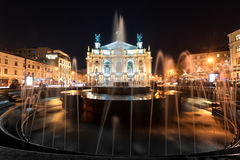 LVIV, UKRAINE - SEPTEMBER 09, 2016: Fountain and Lviv National Academic theatre of opera and ballet named after Solomiya Krushelny Royalty Free Stock Photography
