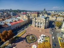 LVIV, UKRAINE - SEPTEMBER 08, 2016: Lviv Downtown with Lviv National Academic theatre of opera and ballet Stock Image
