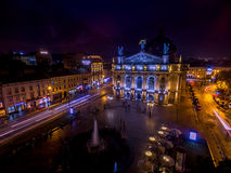 LVIV, UKRAINE - SEPTEMBER 09, 2016: Lviv Downtown with Lviv National Academic theatre of opera and ballet Royalty Free Stock Image