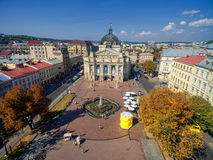 LVIV, UKRAINE - SEPTEMBER 08, 2016: Lviv Downtown with Lviv National Academic theatre of opera and ballet Royalty Free Stock Images
