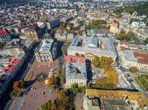 LVIV, UKRAINE - SEPTEMBER 08, 2016: Lviv Downtown with Lviv National Academic theatre of opera and ballet Stock Photos