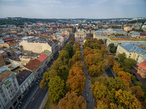 LVIV, UKRAINE - SEPTEMBER 11, 2016: Lviv Downtown and Lviv National Academic theatre of opera and ballet Stock Photography