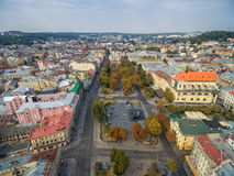 LVIV, UKRAINE - SEPTEMBER 11, 2016: Lviv Downtown and Lviv National Academic theatre of opera and ballet Royalty Free Stock Photo
