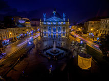 LVIV, UKRAINE - SEPTEMBER 09, 2016: Lviv Downtown with Lviv National Academic theatre of opera and ballet Stock Image