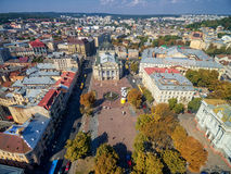 LVIV, UKRAINE - SEPTEMBER 08, 2016: Lviv Downtown with Lviv National Academic theatre of opera and ballet Royalty Free Stock Photography