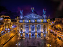 LVIV, UKRAINE - SEPTEMBER 09, 2016: Lviv Downtown with Lviv National Academic theatre of opera and ballet Royalty Free Stock Images