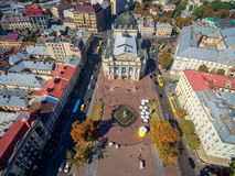 LVIV, UKRAINE - SEPTEMBER 08, 2016: Lviv Downtown with Lviv National Academic theatre of opera and ballet Royalty Free Stock Photos