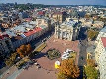 LVIV, UKRAINE - SEPTEMBER 08, 2016: Lviv Downtown with Lviv National Academic theatre of opera and ballet named after Solomiya Kru Royalty Free Stock Image