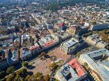 LVIV, UKRAINE - SEPTEMBER 08, 2016: Lviv Downtown with Lviv National Academic theatre of opera and ballet named after Solomiya Kru Stock Images