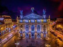 LVIV, UKRAINE - SEPTEMBER 09, 2016: Lviv Downtown with Lviv National Academic theatre of opera and ballet named after Solomiya Kru Stock Images