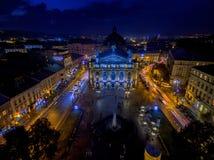 LVIV, UKRAINE - SEPTEMBER 09, 2016: Lviv Downtown with Lviv National Academic theatre of opera and ballet named after Solomiya Kru Royalty Free Stock Image