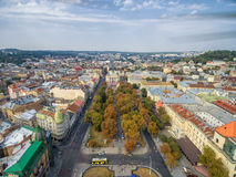 LVIV, UKRAINE - SEPTEMBER 11, 2016: Lviv Downtown and Lviv National Academic theatre of opera and ballet Royalty Free Stock Image