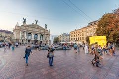 LVIV, UKRAINE - SEPTEMBER 09, 2016: Lviv National Academic theatre of opera and ballet named after Solomiya Krushelnytska with Peo Royalty Free Stock Photography