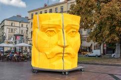 LVIV, UKRAINE - SEPTEMBER 09, 2016: Lviv National Academic theatre of opera and ballet named after Solomiya Krushelnytska Yellow S Royalty Free Stock Image
