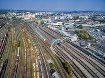 LVIV, UKRAINE - SEPTEMBER 12, 2016: Lviv Railway Station with Roof. Public Transport. Lviv Railway Station with Roof. Public Transport Stock Images
