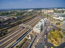 LVIV, UKRAINE - SEPTEMBER 12, 2016: Lviv Railway Station with Roof. Public Transport. Lviv Railway Station with Roof. Public Transport Royalty Free Stock Image