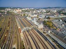 LVIV, UKRAINE - SEPTEMBER 12, 2016: Lviv Railway Station with Roof. Public Transport. Lviv Railway Station with Roof. Public Transport Royalty Free Stock Images