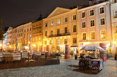 Lviv, Ukraine, September, 15, 2013. Market square in Lviv at night Royalty Free Stock Images