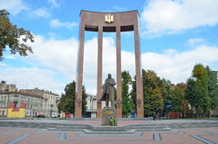 Lviv, Ukraine, September, 15, 2013. The monument to Stepan Bandera on  the square of Kropivnitsky Stock Images