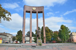 Lviv, Ukraine, September, 15, 2013. The monument to Stepan Bandera on  the square of Kropivnitsky Royalty Free Stock Photos