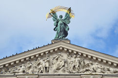 Lviv, Ukraine, September, 16, 2013. Nobody, the sculpture Glory on the roof of Lviv theatre of Opera and ballet Royalty Free Stock Images
