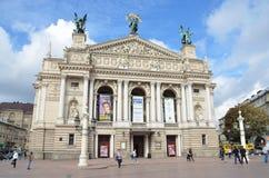 Lviv, Ukraine, September, 16, 2013. People walking near the Opera and Ballet theatre in Lviv Stock Images