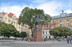 Lviv, Ukraine, September, 16, 2013. People walking on the square of Galitsky in Lviv Stock Images