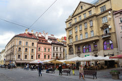 Lviv, Ukraine, September, 16, 2013. People walking on the square of Galitsky in Lviv Royalty Free Stock Photos