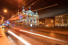 LVIV, UKRAINE - SEPTEMBER 09, 2016: Traffic Light and Lviv National Academic theatre of opera and ballet named after Solomiya Krus Royalty Free Stock Photos