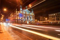 LVIV, UKRAINE - SEPTEMBER 09, 2016: Traffic Light and Lviv National Academic theatre of opera and ballet named after Solomiya Krus Stock Photos