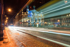 LVIV, UKRAINE - SEPTEMBER 09, 2016: Traffic Light and Lviv National Academic theatre of opera and ballet named after Solomiya Krus Royalty Free Stock Photography