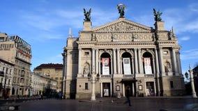 LVIV, UKRAINE: Time lapse of people walking in front of Lvov Opera House. LVIV, UKRAINE - FEBRUARY 7, 2016: Time lapse of people walking on the square in front stock footage