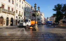 Lviv Uliczny cleaning obrazy stock
